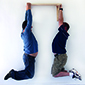 Two people hanging from a heavy duty X-Tenda shelf. <br /> A combined weight of in excess of 220kg or 540lbs.